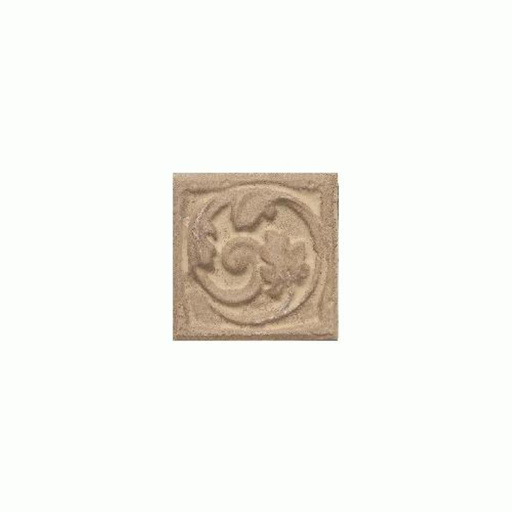 Daltile Salerno Marrone Chiaro 3 in. x 3 in. Glazed Ceramic Floral Insert Decorative Wall Tile-DISCONTINUED