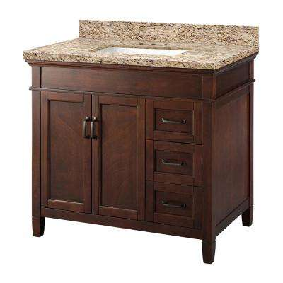 Ashburn 37 in. W x 22 in. D Vanity in Mahogany with Granite Vanity Top in Giallo Ornamental with White Sink
