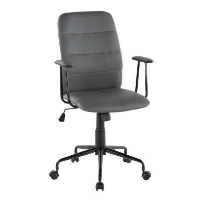 Fredrick Grey Faux Leather Office Chair