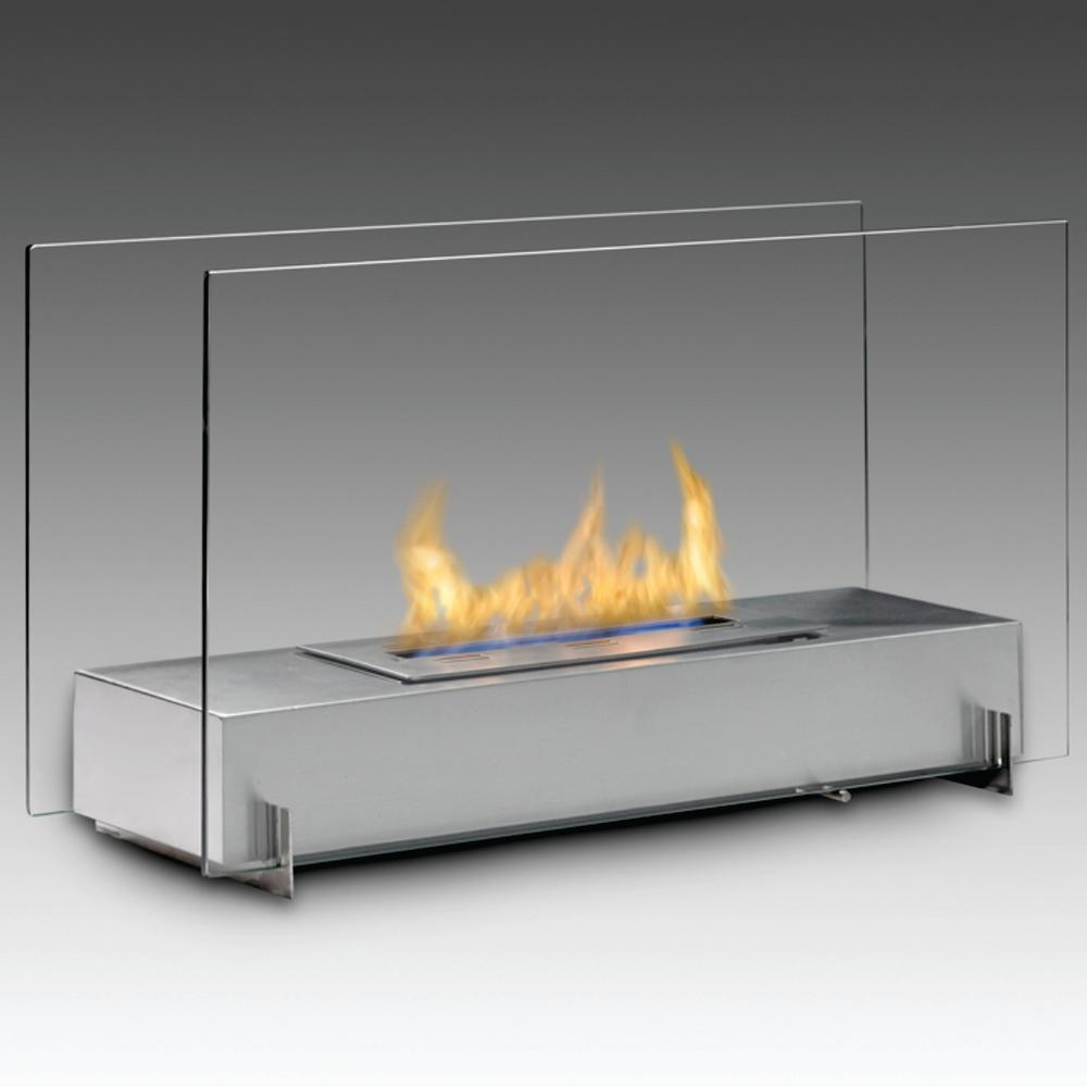 vision i 28 in ethanol free standing fireplace in stainless steel