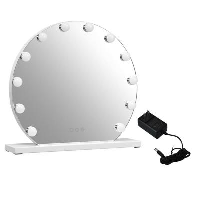 20 in. W x 18 in. H Framed Round Single Hollywood 12 Bulbs Touch Screen Makeup Bathroom Vanity Mirror
