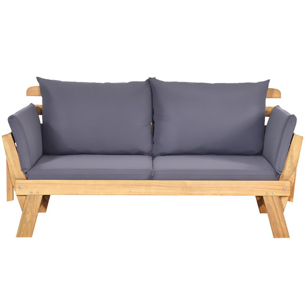 Costway Natural Wood Outdoor Sofa Day, Outdoor Sofa Furniture