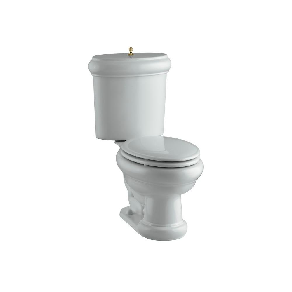 KOHLER Revival 2-piece 1.6 GPF Elongated Toilet with Seat in Ice Grey