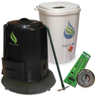 Rain Barrel Compost Bin with Base and Accessories Combo