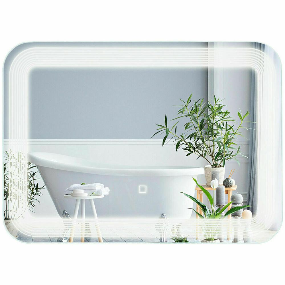 Led Illuminated Bathroom Mirror Lighted Wall Mounted Make-up Vanity Touch Button