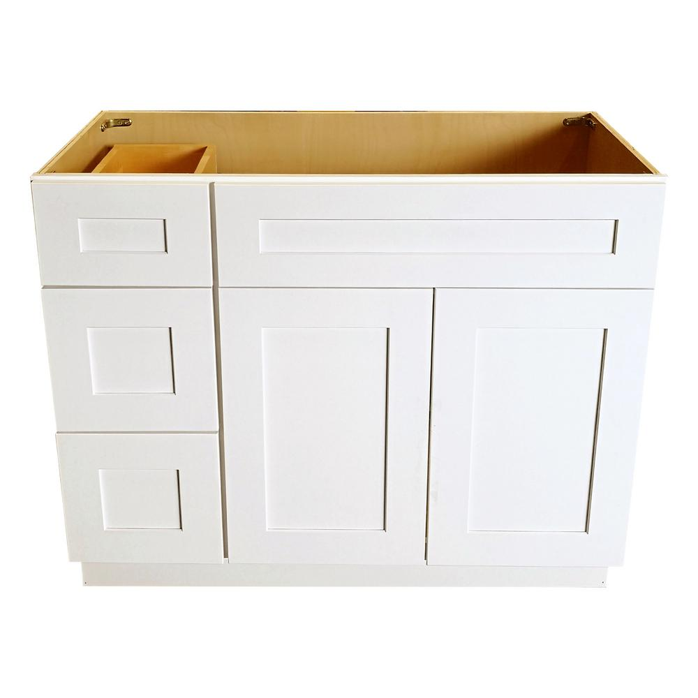 42 in. W x 21 in. D x 34.5 in. H Ready to Assemble Shaker Bath Vanity  Cabinet with 2-Doors and Left Drawers in White