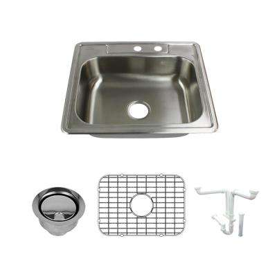 Select All-In-One Drop-In Stainless Steel 25 in. 2-Hole Single Bowl Kitchen Sink in Brushed Stainless Steel