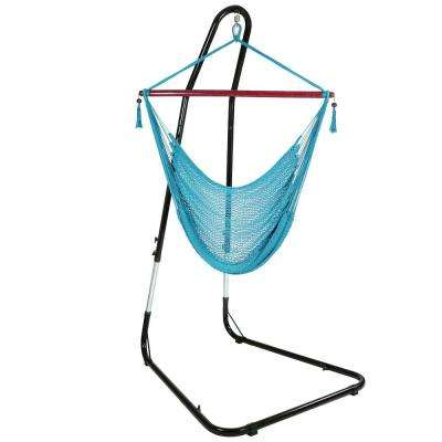 4 ft. Hanging Caribbean XL Hammock Chair with Adjustable Stand in Sky Blue