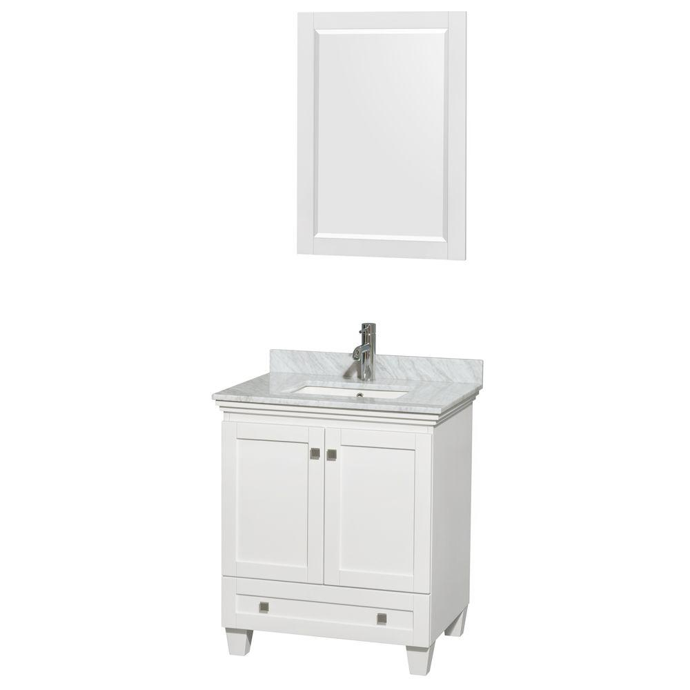 Acclaim 30 in. Vanity in White with Marble Vanity Top in