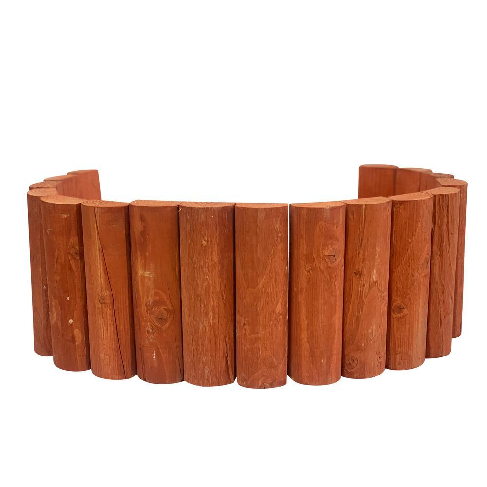 48 in. W x 10 in. H Red Cedar Even Top Half Split Log Edging