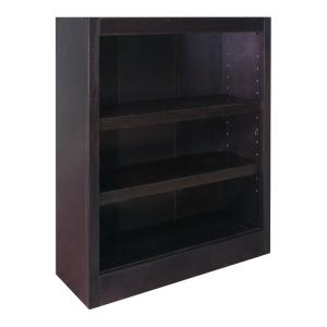 Midas Wood Bookcase, 3 Shelves, 36 in. H, Espresso Finish