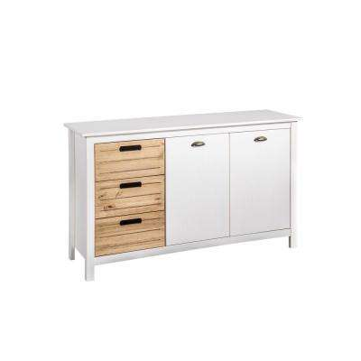 Irving 3-Drawer White and Natural Wood Dresser