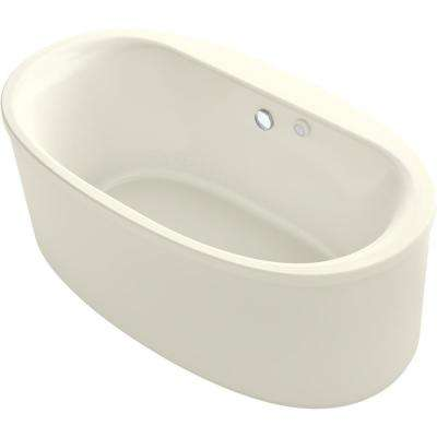 Sunstruck 60 in. Acrylic Flatbottom Air Bath Bathtub with Straight Shroud in Biscuit