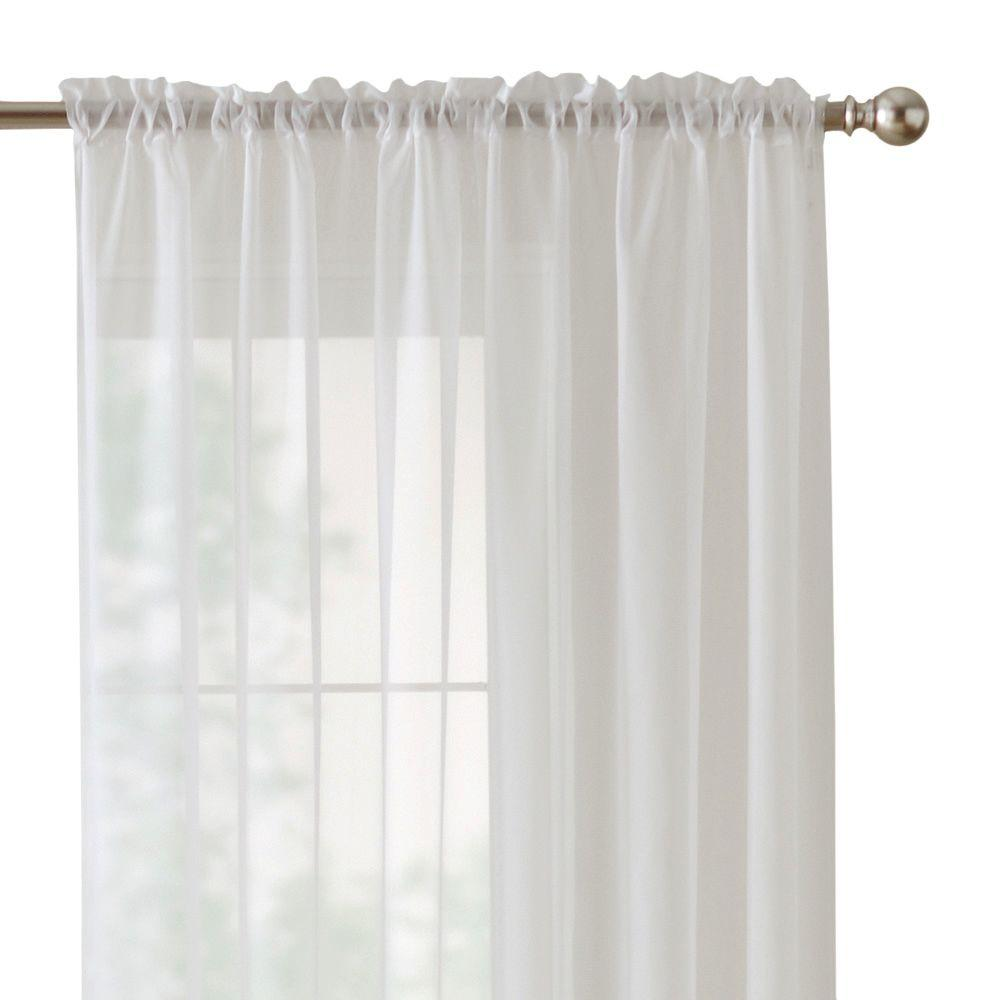 home decorators collection sheer white sheer voile rod pocket curtain - White Sheer Curtains