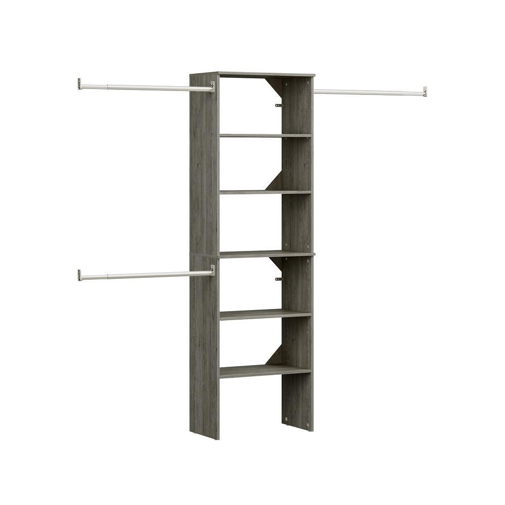 ClosetMaid Style+ 84 in. W - 120 in. W Coastal Teak Wood Closet System