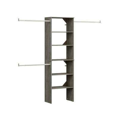 Style + 14 in. D x 25 in. W x 82.58 in. H Coastal Teak Wood Floor Mount 6-Shelf Closet Kit With Hang Rods