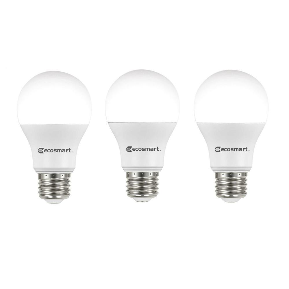 EcoSmart 60-Watt Equivalent A19 Non-Dimmable LED Light Bulb Daylight (3-Pack)