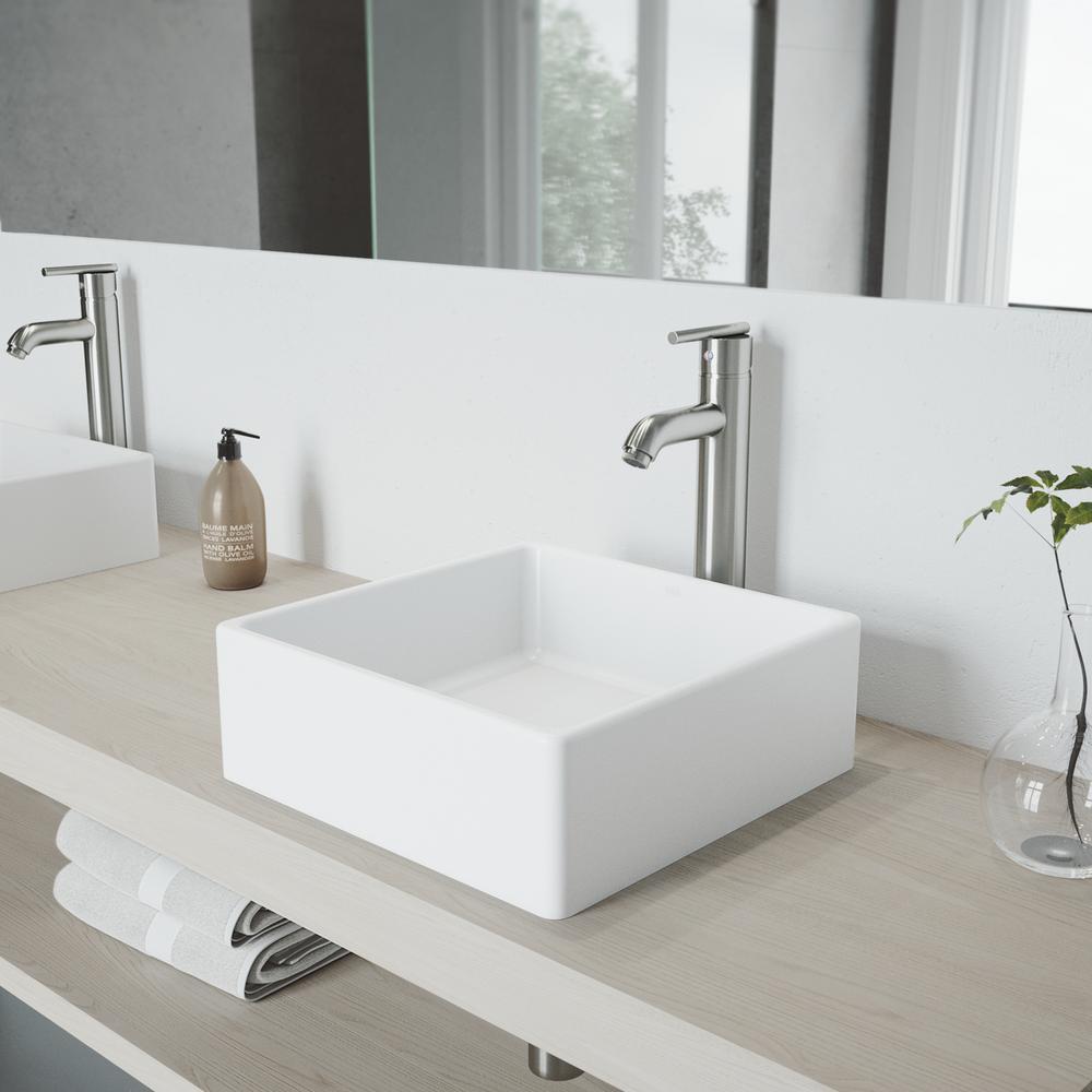 Vigo Dianthus Matte Stone Vessel Sink And Seville Bathroom Faucet In Brushed Nickel