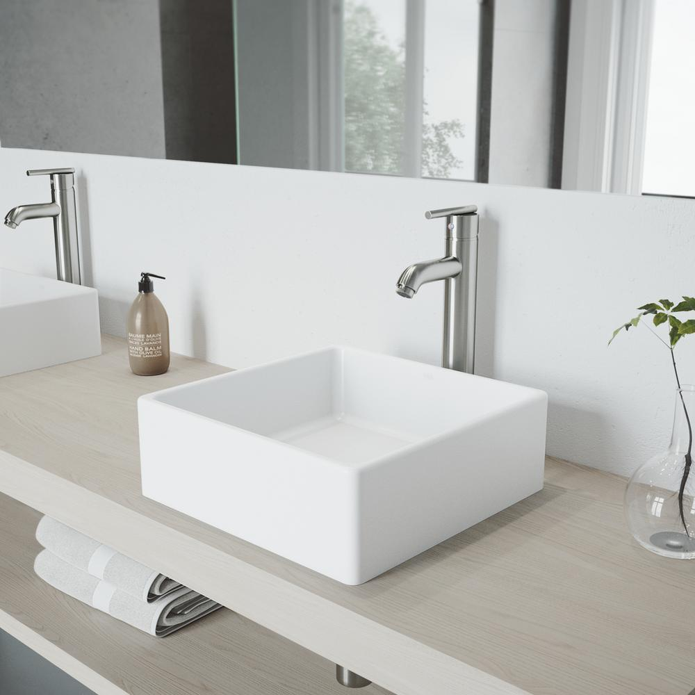 VIGO Dianthus White Matte Stone Vessel Bathroom Sink and Seville Bathroom Vessel Faucet in Brushed Nickel, Matte White was $304.9 now $243.9 (20.0% off)