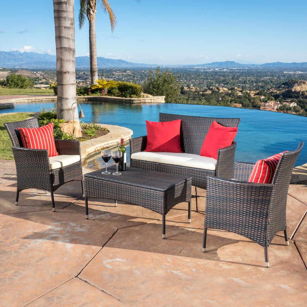 Noble House Malta Multibrown 4-Piece Wicker Patio Conversation Set with White Cushions