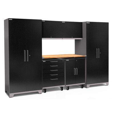Performance Plus Diamond Plate 2.0 80 in. H x 133 in. W x 24 in. D Garage Cabinet Set in Black (7-Piece)