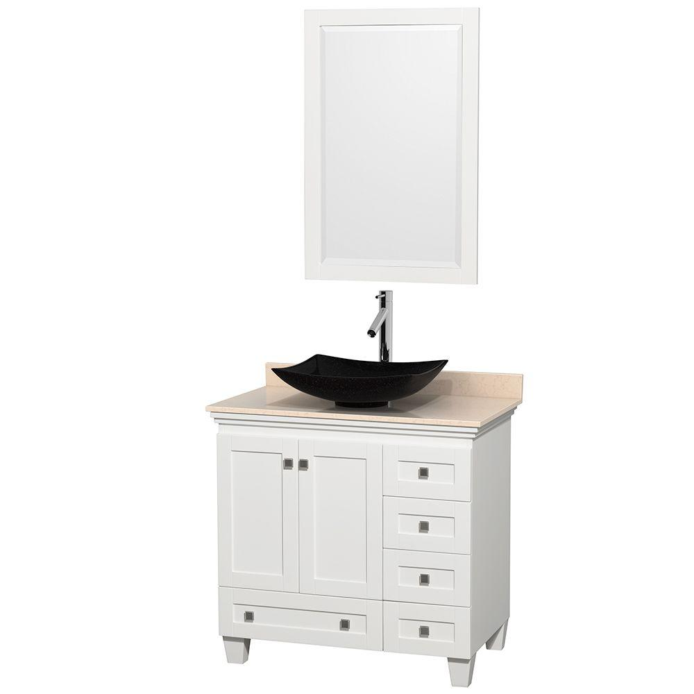Acclaim 36 in. W Vanity in White with Marble Vanity Top