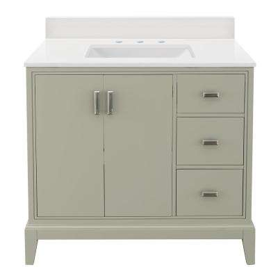 Shaelyn 37 in. W x 22 in. D Vanity in Sage Green RH with Engineered Marble Vanity Top in Winter White with White Sink