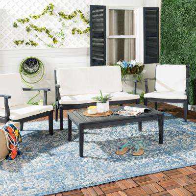 Fresno 4-Piece Dark Slate Gray Wood Patio Seating Set with Beige Cushions