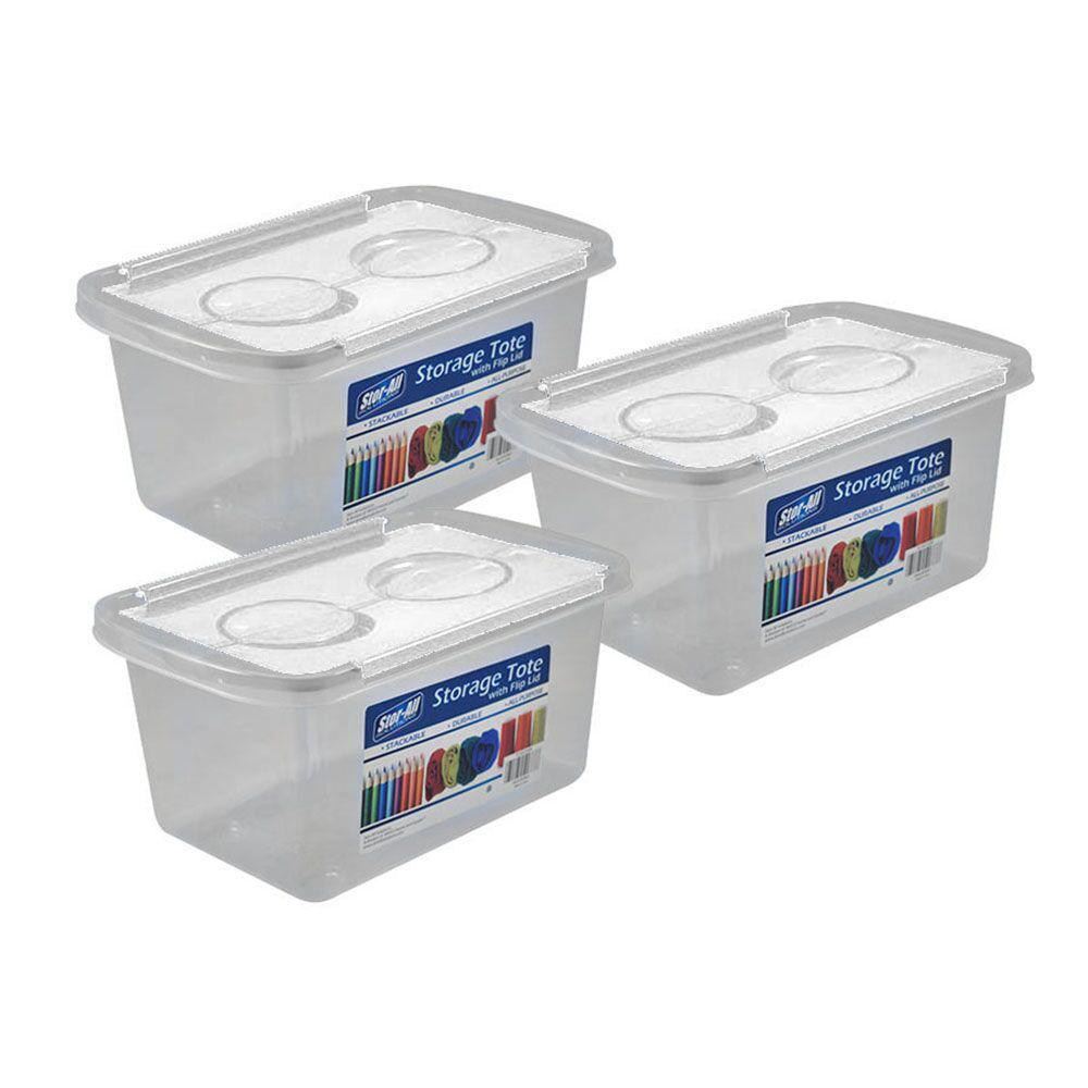 1.3 Gal. Storage Tote with White Flip Lid in Clear (3-Pack)