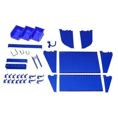 1 in. Vertical Blue Slotted Metal Pegboard Workstation Accessory Kit