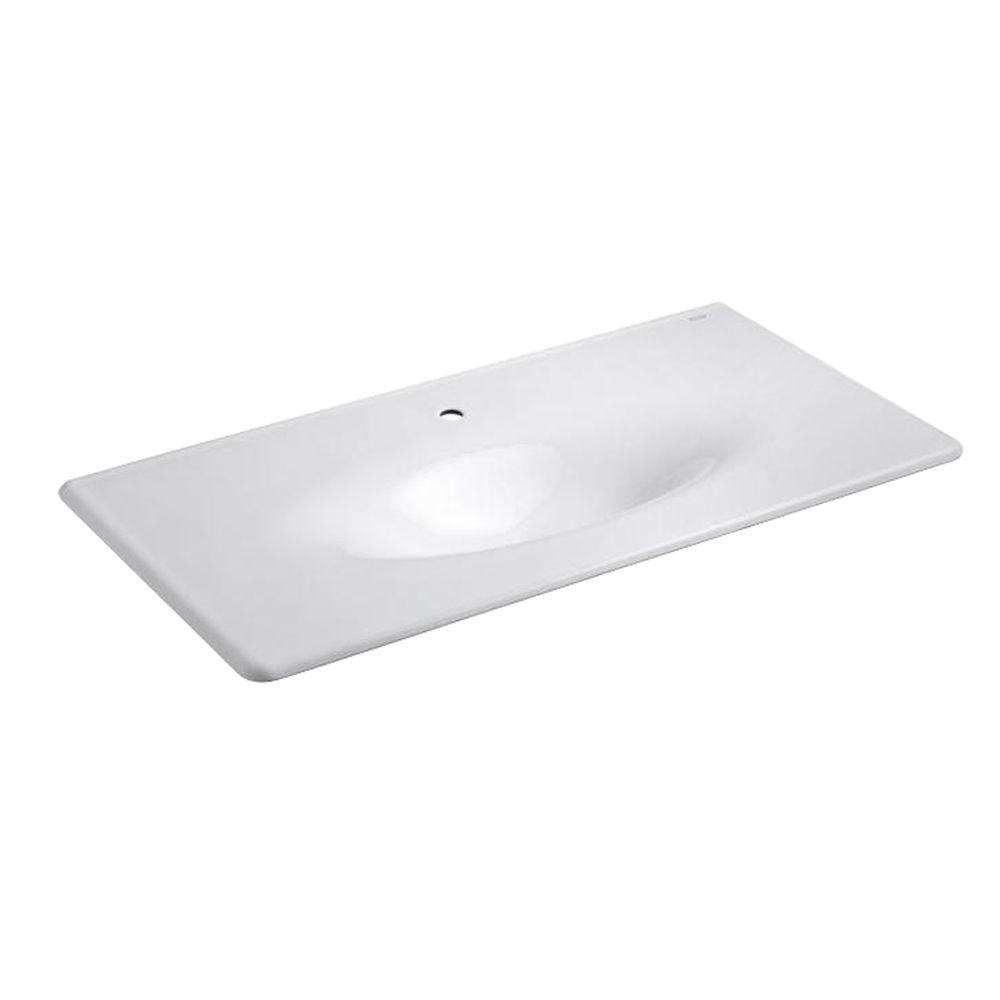 22.25 in. Iron/Impressions Vanity Top Bathroom Sink in White