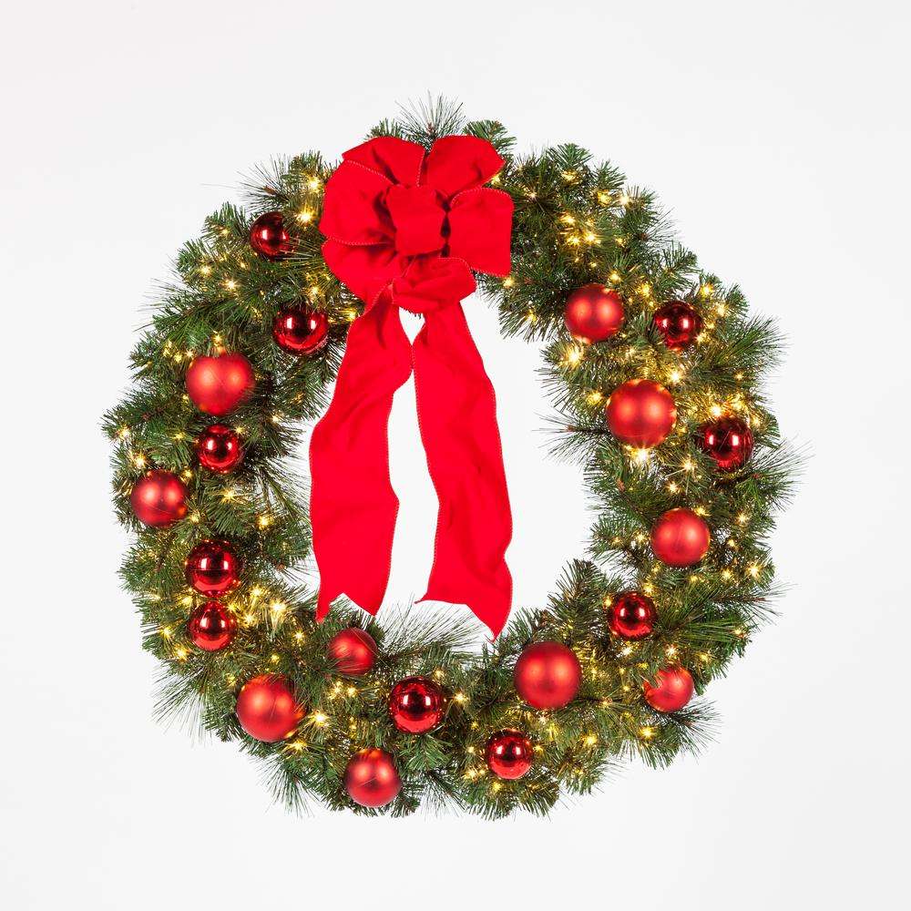 Home Accents Holiday 36 In Pre Lit LED Artificial Christmas Wreath With Ornaments And A Velvet Bow
