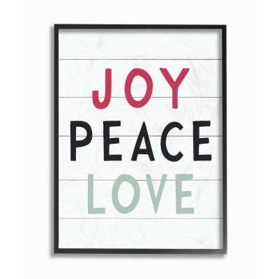 "16 in. x 20 in. ""Holiday Black White Red and Blue Joy Peace Love"" by Artist Lettered and Lined Framed Wall Art"