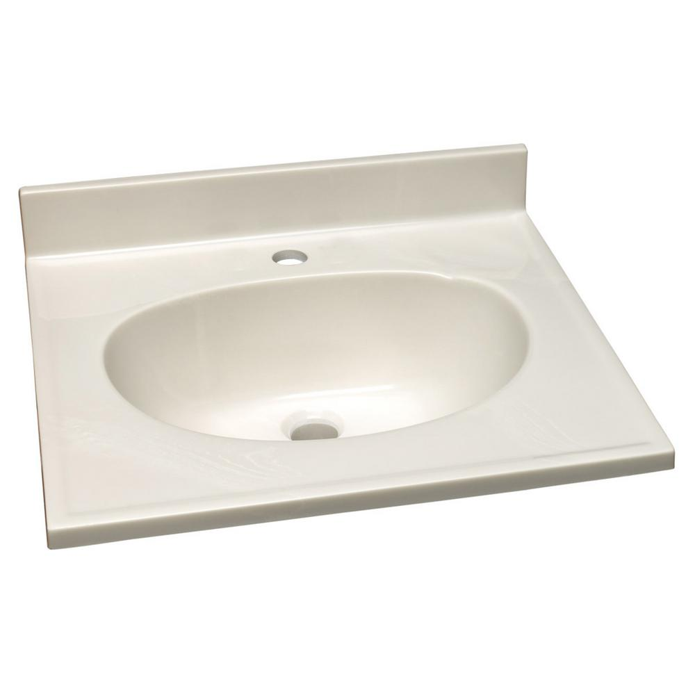 25 in. Single Faucet Hole Cultured Marble Vanity Top with White