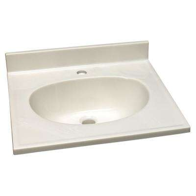 25 in. Single Faucet Hole Cultured Marble Vanity Top with  White on White Basin