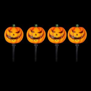15 in. Scary Jack-O-Lantern Pathway Markers with LED Illumination (4-Pack)