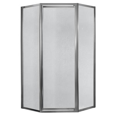 Tides 16-3/4 in. x 24 in. x 16-3/4 in. x 70 in. Framed Neo-Angle Shower Door in Silver and Obscure Glass