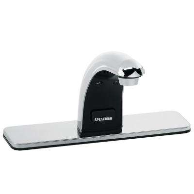 SensorFlo Classic Battery-Powered Lavatory Sensor Faucet with 8 in. Deck Plate in Polished Chrome