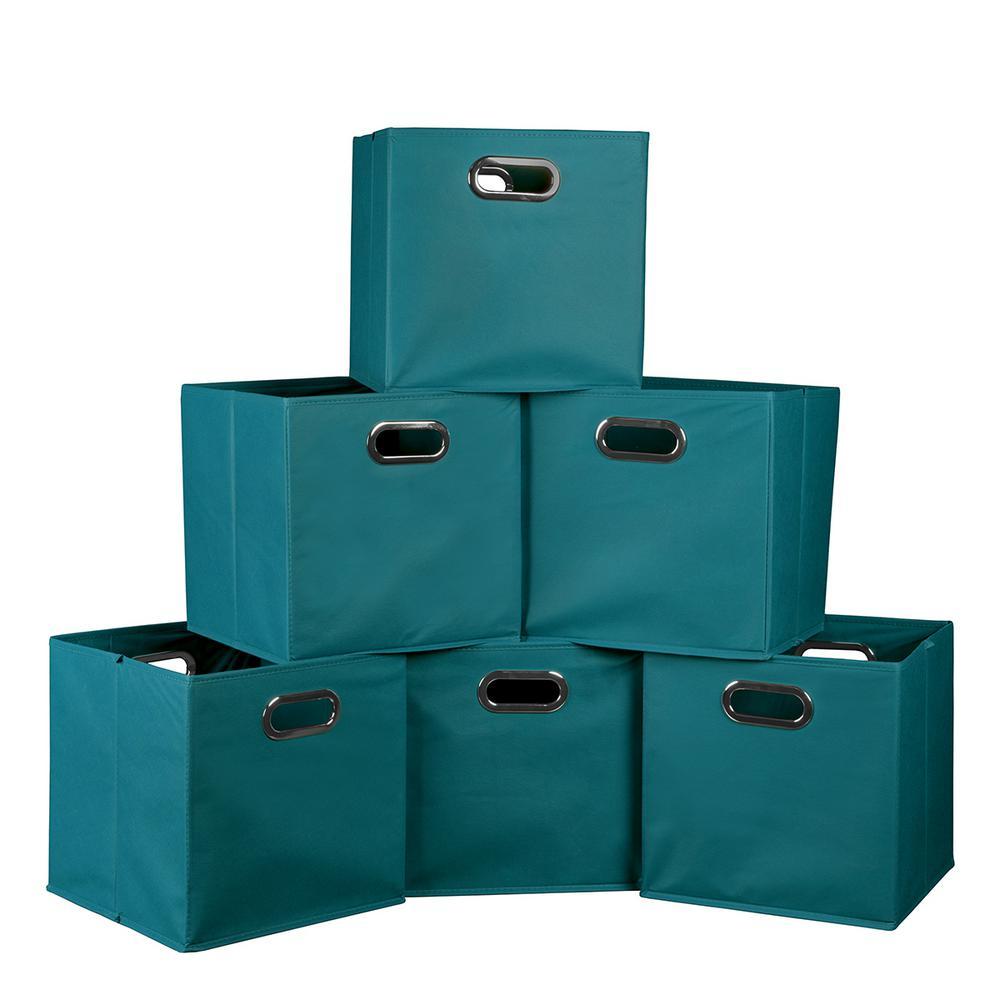 Niche cubo 12 in x 12 in teal foldable fabric bins 6 for Teal bathroom bin