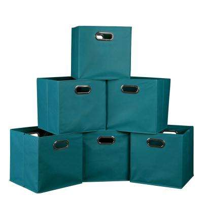 teal foldable fabric bins 6pack