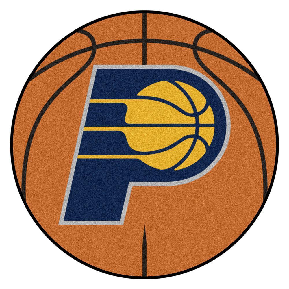 NBA - Indiana Pacers Orange 27 in. Round Indoor Basketball Mat Area Rug