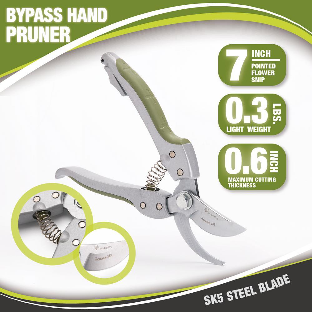 7 in. SK5 Steel Blade Gardening Bypass Hand Pruner