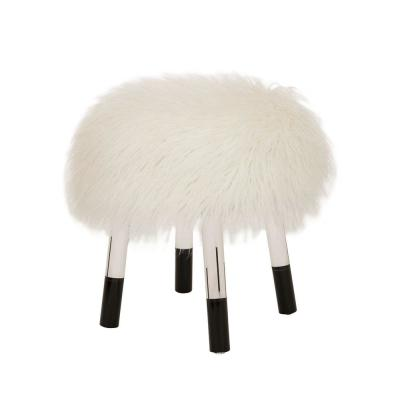 18.11 in. H Round Faux Fur Upholstered Stool with Acrylic Legs, White