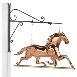 Good Directions Hanging Horse Pure Copper Weathervane Sign with Decorative Bracket - Equestrian Home Decor by Good Directions