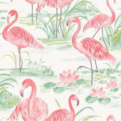 216 in. x 20.5 in. Pink Flamingo Beach Peelable and Stick Wallpaper