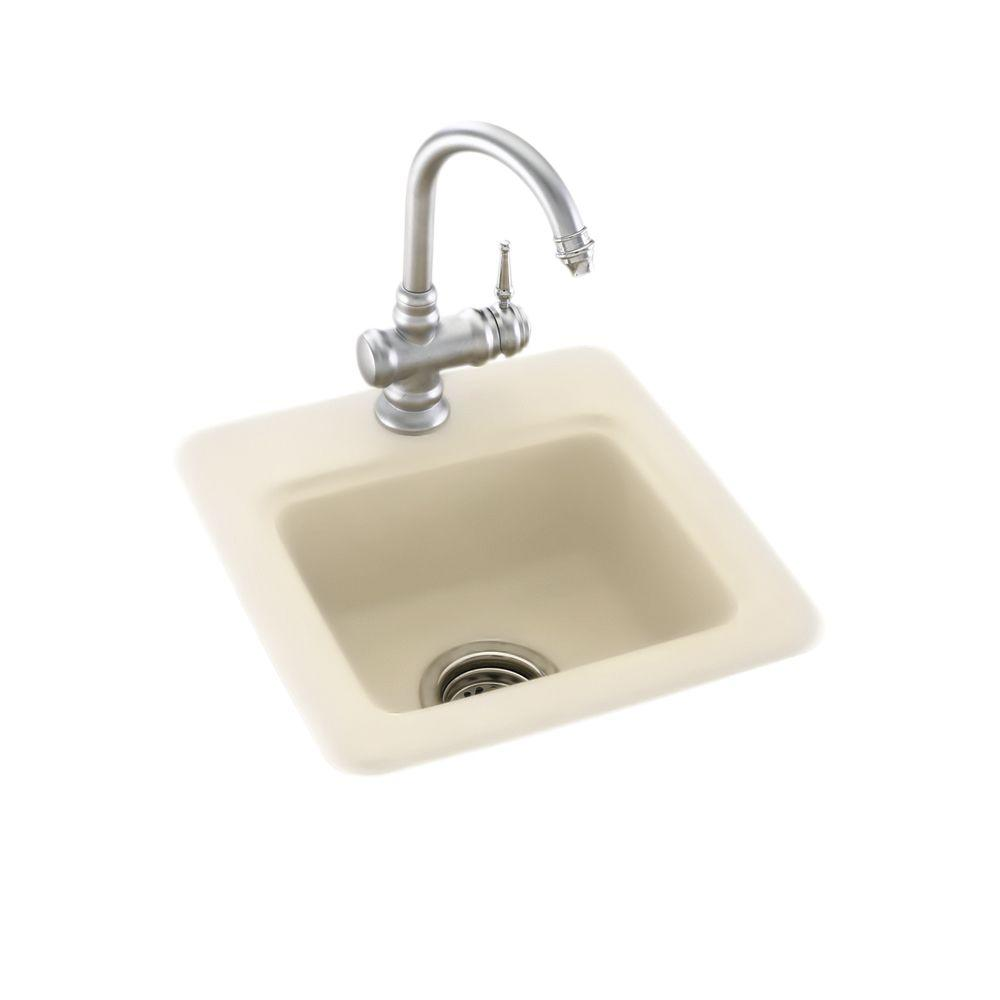 null Dual Mount Composite 15 in. Single Bowl Bar Sink in Bone
