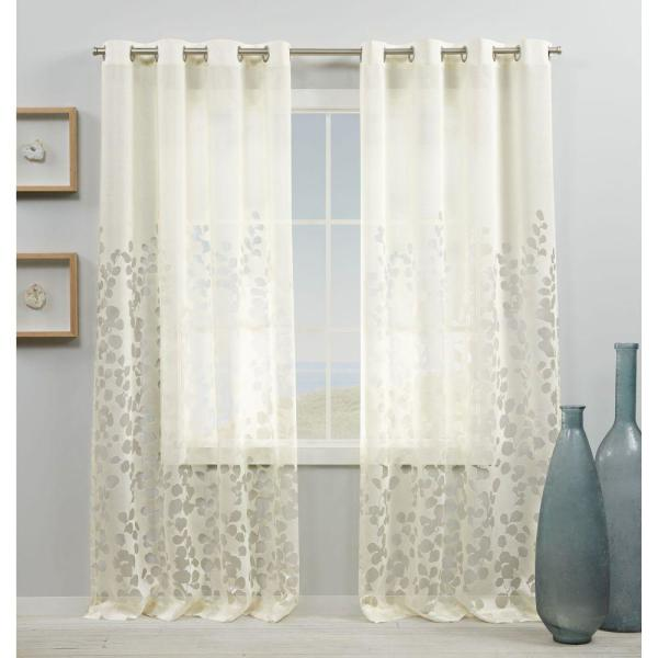 Wilshire Ivory Sheer Grommet Top Curtain Panel 54 in. W x 96 in. L (2 Panels)