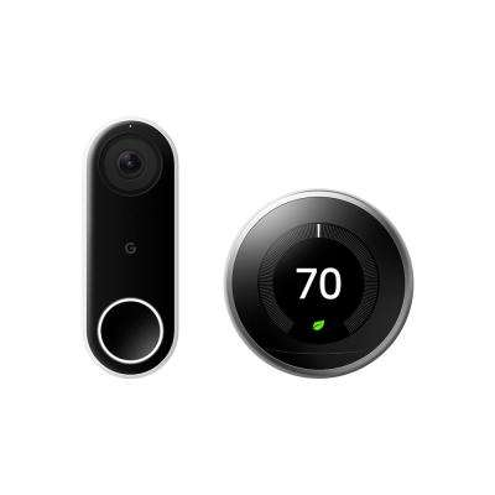 Nest Hello Video Doorbell + Nest Learning Thermostat 3rd Gen Stainless Steel