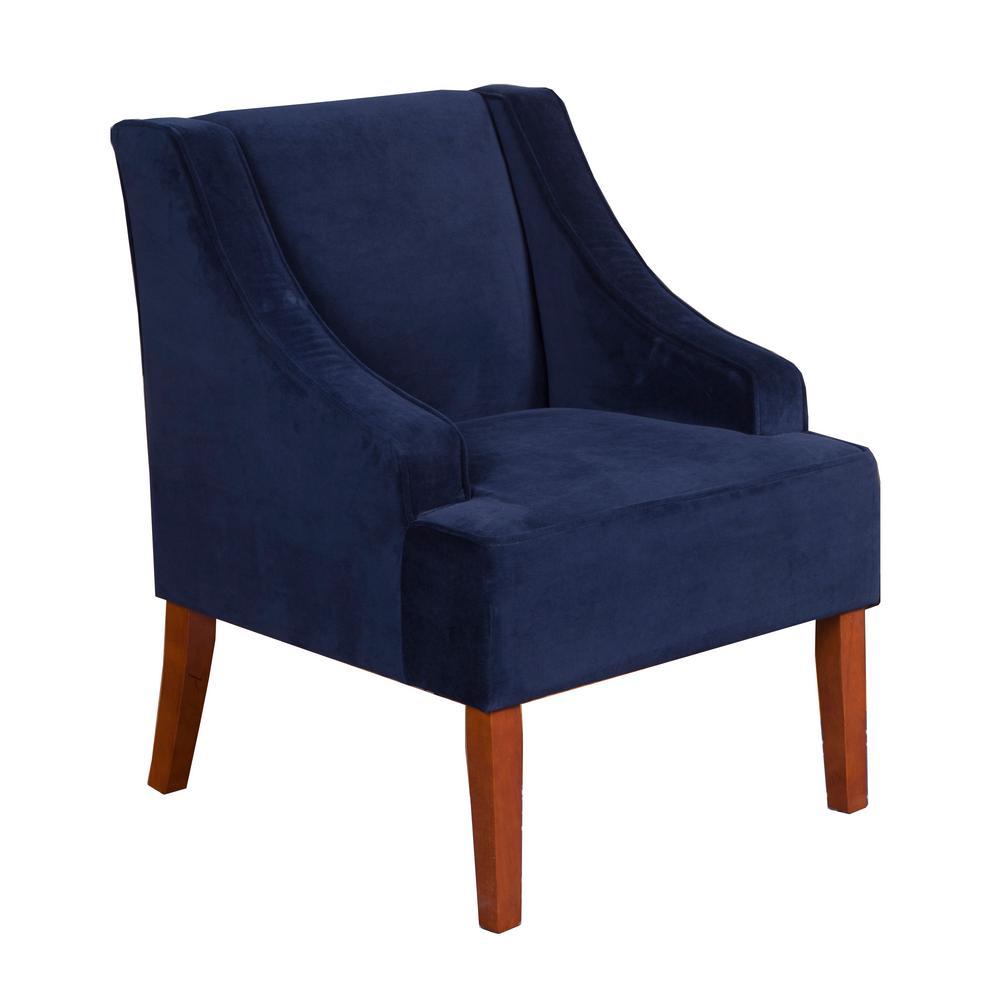 Homepop Swoop Arm Velvet Accent Chair Navy-K6499-B215