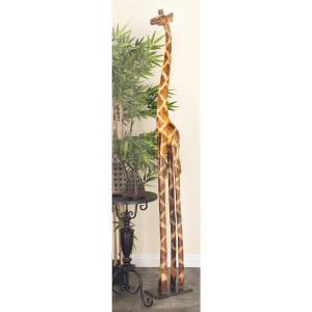 79 inch x 12 inch Wooden Giraffe Decorative Sculpture by